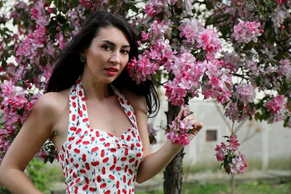 Cherry Dress and Blossom Trees